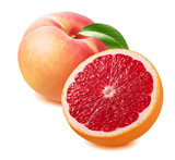 Grapefruit and peach isolated on white background