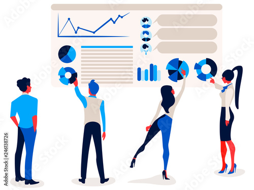 Businessmen and businesswomen is pointing at report infographics on the office chart board graph and diagram.