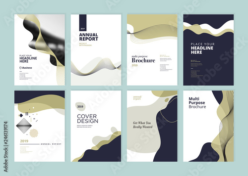 Set of brochure, annual report, flyer design templates in A4 size. Vector illustrations for business presentation, business paper, corporate document cover and layout template designs. © PureSolution