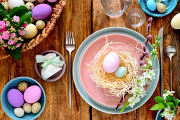 Easter table setting, view from above © fortyforks