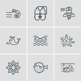 Vector illustration of 9 marine icons line style. Editable set of ship rudder, twin tank, canoe and other icon elements.