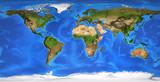 High resolution flat world map in summer - 246149376