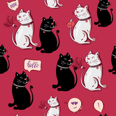 Romantic cute black, white funny cat sweet seamless pattern, wedding invitation card background,illustration vector,hand draw doodle comic art. Love repeated backdrop for girl, textile, clothes, wrapp