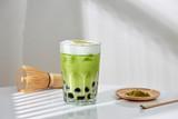 Homemade Tapioca pearl (boboa) green tea (Japanese matcha latte) - creamy and yummy with pretty look - 246174300