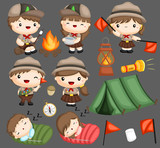 a vector collection of boy and girl scouts  - 246185335
