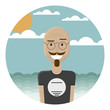 Bald mustache man in round glasses and in a t-shirt. He is smiling and standing on a tropical beach. Hipster tourist.