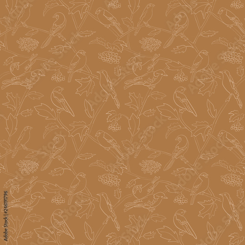 fototapeta na ścianę flora and fauna - rowan branches with berries and birds on brown vector seamless pattern