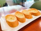 Pieces of garlic bread