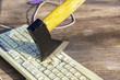 axe cuts the keyboard