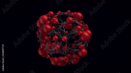 3d render abstract technological web background. Plexus geometry. - 246197721