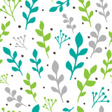 Seamless vector pattern with colorful leaves and branches isolated on white background. For decoration, wrapping paper or textile.