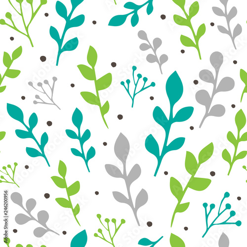 Seamless vector pattern with colorful leaves and branches isolated on white background. For decoration, wrapping paper or textile. - 246200956