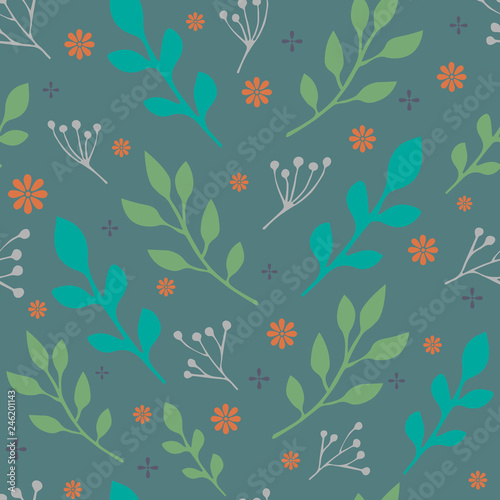 Seamless vector pattern with colorful leaves and branches. For decoration, wrapping paper or textile. © Yana Shostak