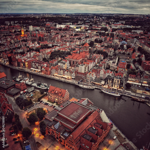 Top view of Old Town in Gdansk Poland - 246218930