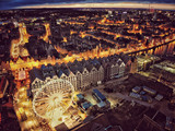 Top view night picture of Old Town in Gdansk Poland