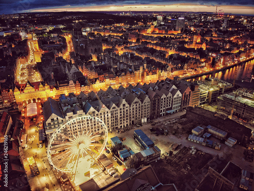 Top view night picture of Old Town in Gdansk Poland - 246219165