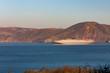 Blurred cargo ship going through the Golden Gate