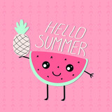 cute character slice watermelon with eyes and the inscription hello summer on a pink background