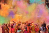 People celebrating the Holi festival of colors in India or Nepal