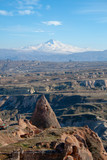 The view of Cappadocia and the mount Erciyes behind.