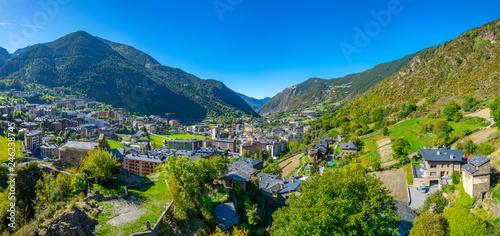 Leinwanddruck Bild Aerial view of Encamp, Andorra