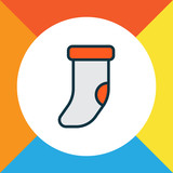 Christmas sock icon colored line symbol. Premium quality isolated clothing element in trendy style. - 246251937