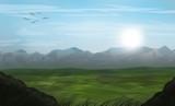 mountain chain landscape sunrise illustration