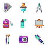 Color coating icons set. Cartoon set of 9 color coating vector icons for web isolated on white background - 246261560