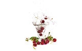 berry fall in a glass of water