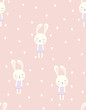 valentines pattern with bunny
