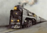 Oil digital paintings landscape, old steam locomotive. Fine art.