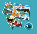 Illustrated pictorial map of Northwest United States. Includes Washington, Oregon, Idaho, Montana, Wyoming, Nevada and Utah. Vector Illustration. - 246283522