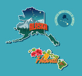 Illustrated pictorial map of Alaska and Hawaii, United States. Vector Illustration.