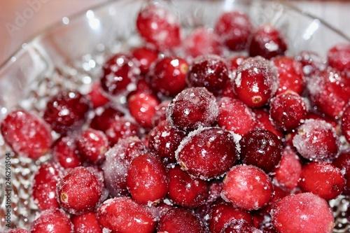 Foto Murales Sugared Cranberries Macro Up Close at Thanksgiving
