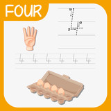 Number four tracing worksheets - 246299772