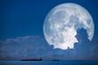 Leinwandbild Motiv super snow moon back on night sky silhouette cloud on sea