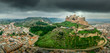 Aerial view of Monzon fortress a former Templer knight castle with Arab origins  in the Aragon region of Spain - 246302324