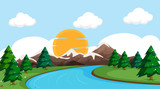 Fototapeta Fototapety z naturą - A flat nature landscape © GraphicsRF
