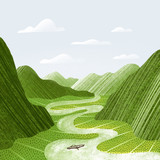 Green mountains, rice fields and river landscape