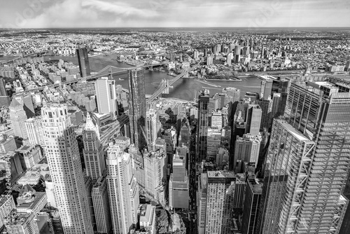 Manhattan and Brooklyn bridge, aerial view, NYC
