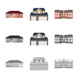 Vector design of building and front icon. Collection of building and roof stock symbol for web. - 246333931