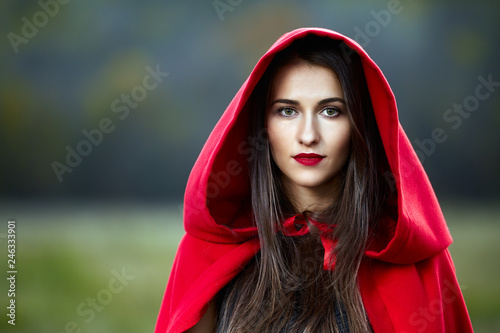 Red Riding Hood cosplay in the forest