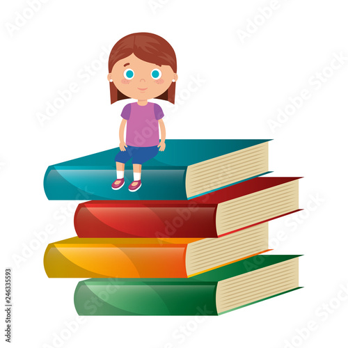 little student girl with pile books character - 246335593