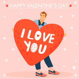 Valentine's day greeting card. Man holds a big heart. Vector illustration.