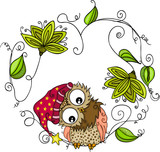 Cute owl with green leaves shaped heart