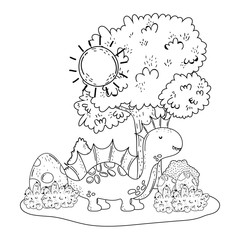 cute apatosaurus with tree in the landscape