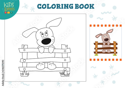 Coloring book with funny puppy vector illustration