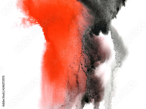 watercolor red and black abstract hand drawn. isolated white background .wet on wet style. © atichat