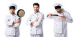 collage of handsome chef in white uniform smiling and holding frying pan isolated on white