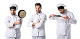 collage of handsome chef in white uniform smiling and holding frying pan isolated on white - 246375573
